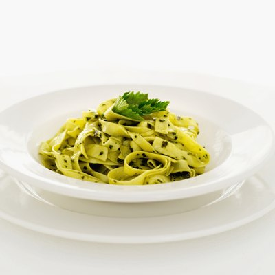 A plate of linguine pasta.