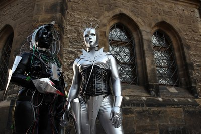 Cybergoths pose outside of church in Leipzig, Germany