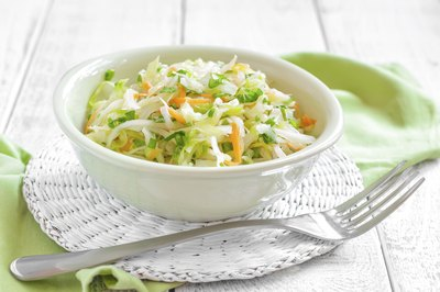 Small bowl of green cabbage slaw