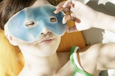 A cold eye mask works wonders.