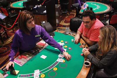 Dealer at casino table