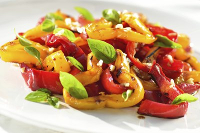 Cooked peppers on a plate.