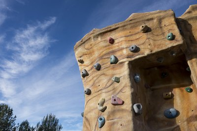 An outdoor rock climbing wall.