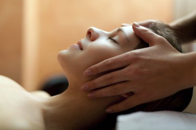 Woman getting massage at spa