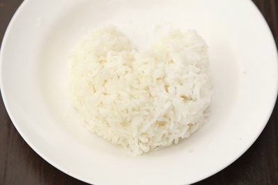 one scoop of rice on small plate