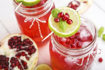 Two glasses of pomegranate juice.