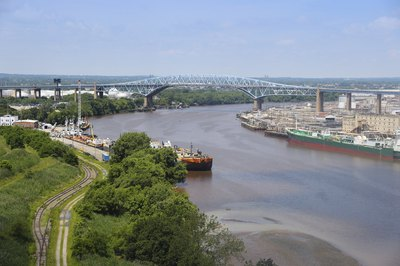 Shipping area on the Schuylkill river with the Platt Bridge near Philadelphia