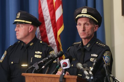 Boston police at press conference following marathon bombing