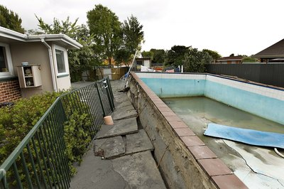 An underground swimming pool is damaged in an earthquake.