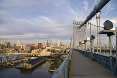 Waterfront and city of Philadephia from the Benjamin Franklin Bridge