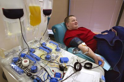 Man donating blood