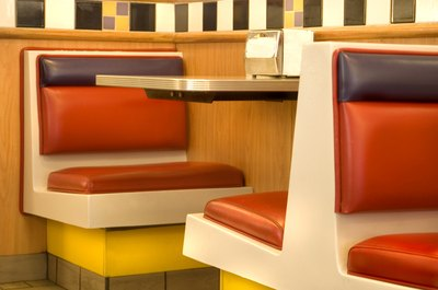 Seats in a fast food restaurant.