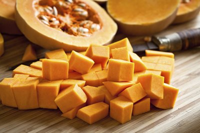 Cubed pumpkin pieces