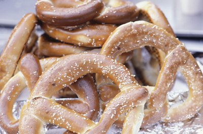 A close up of salted pretzels.