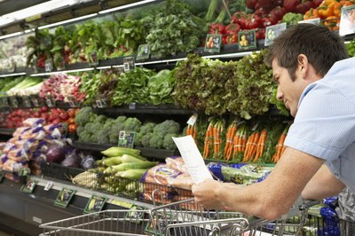 A man reading a list in the produce aisle
