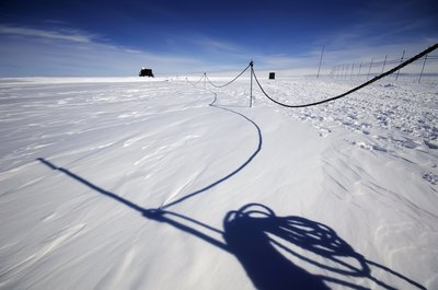 Safety rope at Antarctica research station in case of whiteout and snow drifts