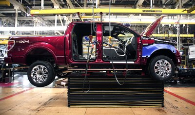 Ford truck in factory