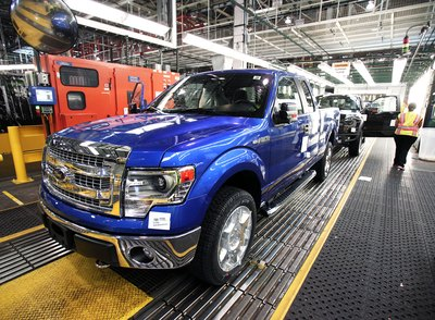 Car being built in Ford factory