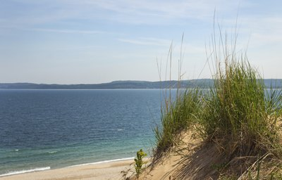 A view of Lake Michigan and sand dunes in northern Michigan.