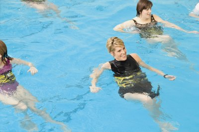 Using ankle weights during water aerobics classes increases leg strength.