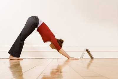 Downward-Facing Dog is a common transitional yoga pose.