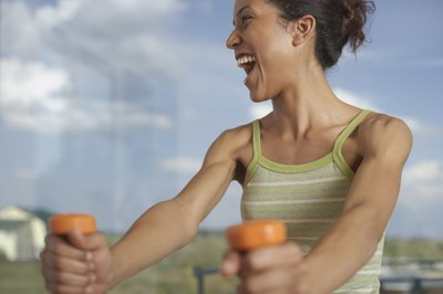 Working out with dumbbells is fun and good for you.