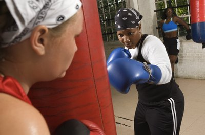 Punching a heavy bag builds power and cardio fitness.