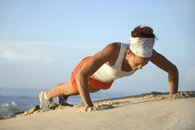 Sand pushups are a tough variation of the standard pushup.