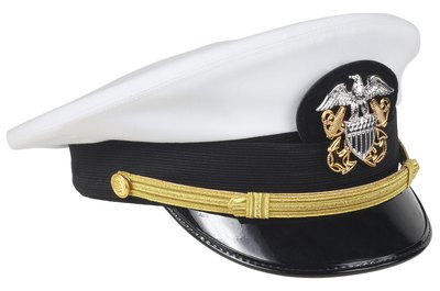 Navy officers wear these caps, while enlisted seamen wear different headgear.