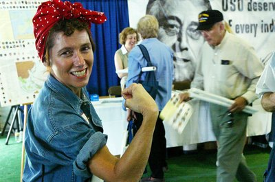 Rosie the Riveter wasn't real, but she typified American women's WWII contribution.