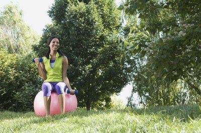 Small rocks in the lawn could puncture your exercise ball.