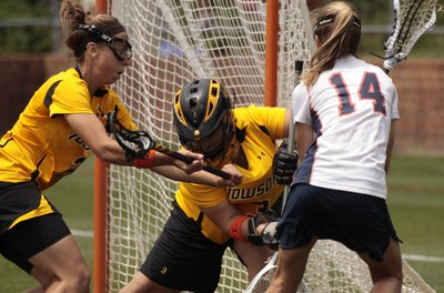 Lacrosse goalies are often in the middle of the action.