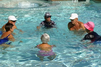 Water aerobics is low impact, which makes it good for seniors.