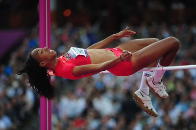 Brigetta Barrett of the United States competes in the Olympic high jump.