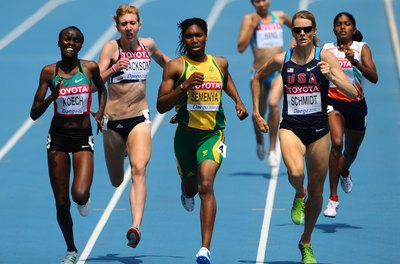 Alice Schmidt, front right, of the United States competes with others in the 800 meters.