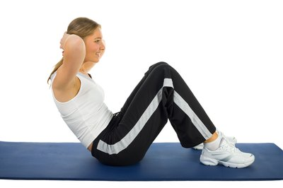 Bend your legs at roughly 90 degrees while performing sit-ups.