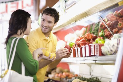 Produce and other more affordable foods are usually around the perimeter of the store.