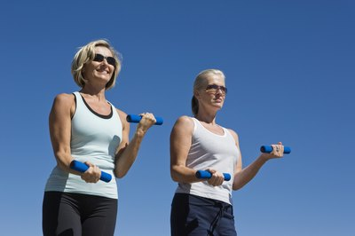 Walking with light weights is appropriate for women of all ages.