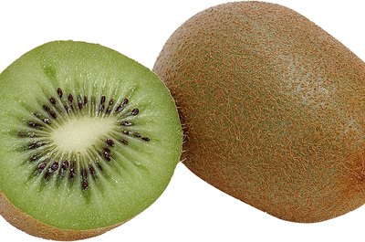 Kiwi fruit is tangy and juicy when ripe.