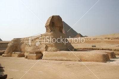 The sphinx was carved from a single piece of stone.