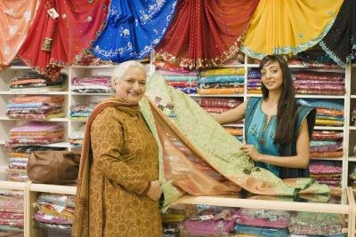 Sari fabrics make colorful curtains, wall hangings and upholstery.