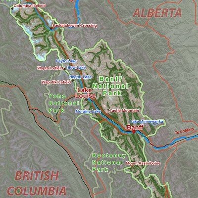 Images Related To Rocky Mountains Map Of Banff National Park