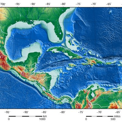 the shaded relief map of the gulf of mexico and caribbean sea area2526