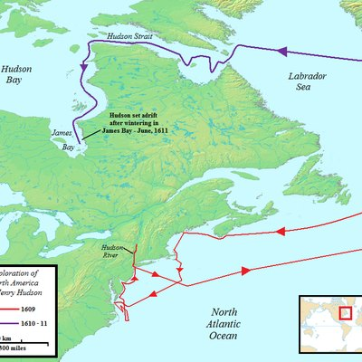 map of the two north american voyages of henry hudson route of first voyages shown in red second in purple