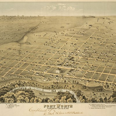Fort Worth Texas In 1876 Tarrant Co Toned Lithograph 14 4 X 19 Published By Chas Shober Amp Props Chicago Lith