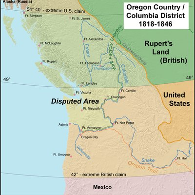 This Map Shows Oregon Country And The Border Dispute Between The U S And Britain 1818 1846