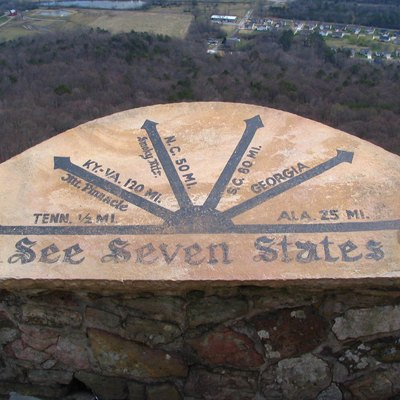 Sign At Lover S Leap Rock City A Roadside Attraction Near Chattanooga Tennessee On Lookout Mountain In Georgia Located Ruby
