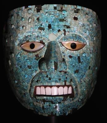 An Aztec turquoise mosaic mask was on display in the British Museum.