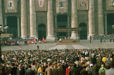 A crowd gathers at the Vatican.