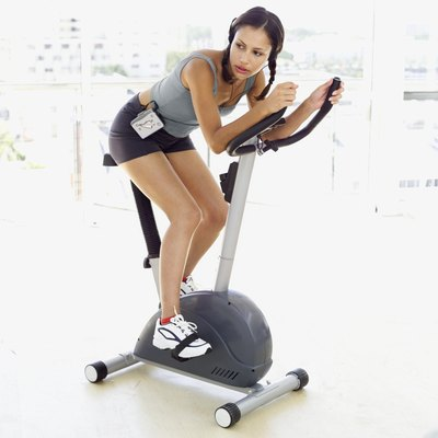 Tone from your thighs to your calves on the stationary bike.